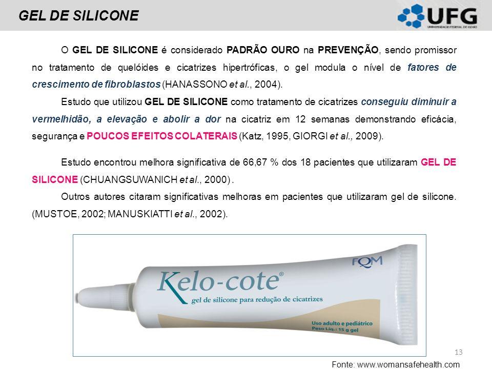 GEL DE SILICONE O GEL DE SILICONE é considerado PADRÃO OURO na PREVENÇÃO, sendo promissor no tratamento de quelóides e cicatrizes hipertróficas, o gel