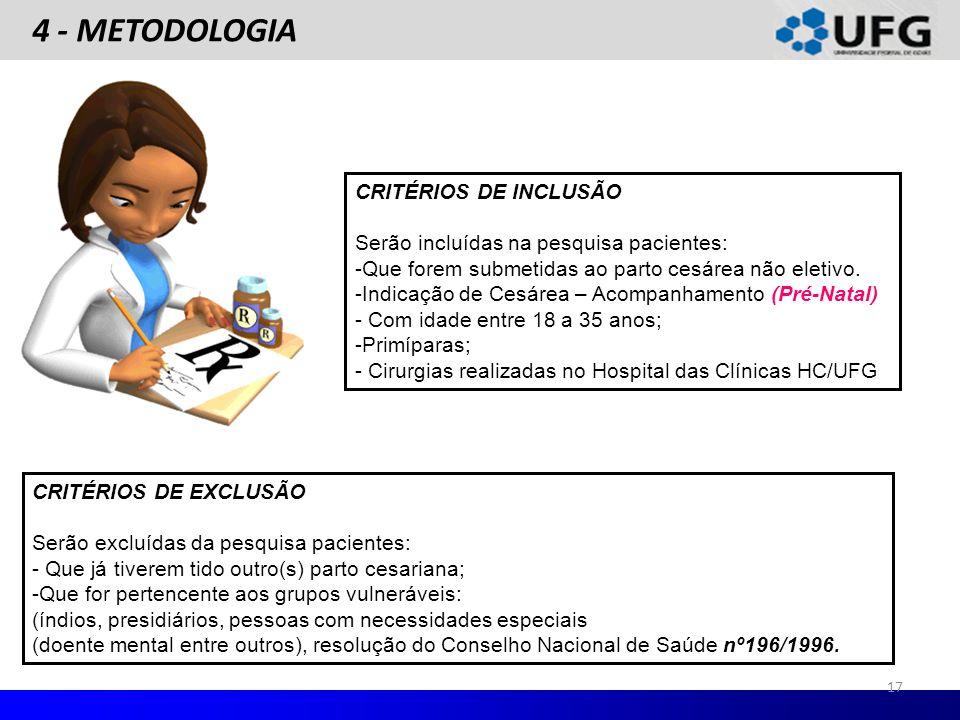 4 - METODOLOGIA CRITÉRIOS DE EXCLUSÃO Serão excluídas da pesquisa pacientes: - Que já tiverem tido outro(s) parto cesariana; -Que for pertencente aos