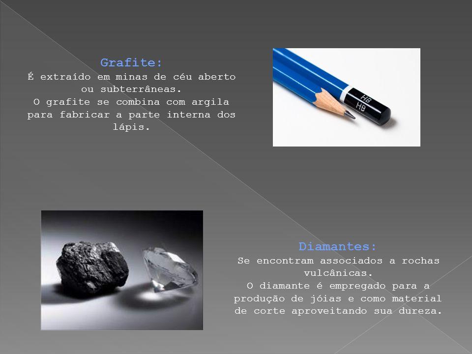 Grafite: É extraído em minas de céu aberto ou subterrâneas. O grafite se combina com argila para fabricar a parte interna dos lápis. Diamantes: Se enc