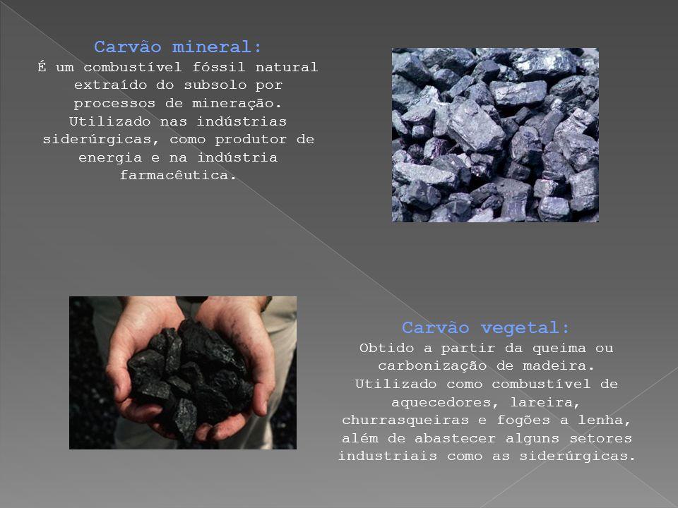 Carvão mineral: É um combustível fóssil natural extraído do subsolo por processos de mineração. Utilizado nas indústrias siderúrgicas, como produtor d