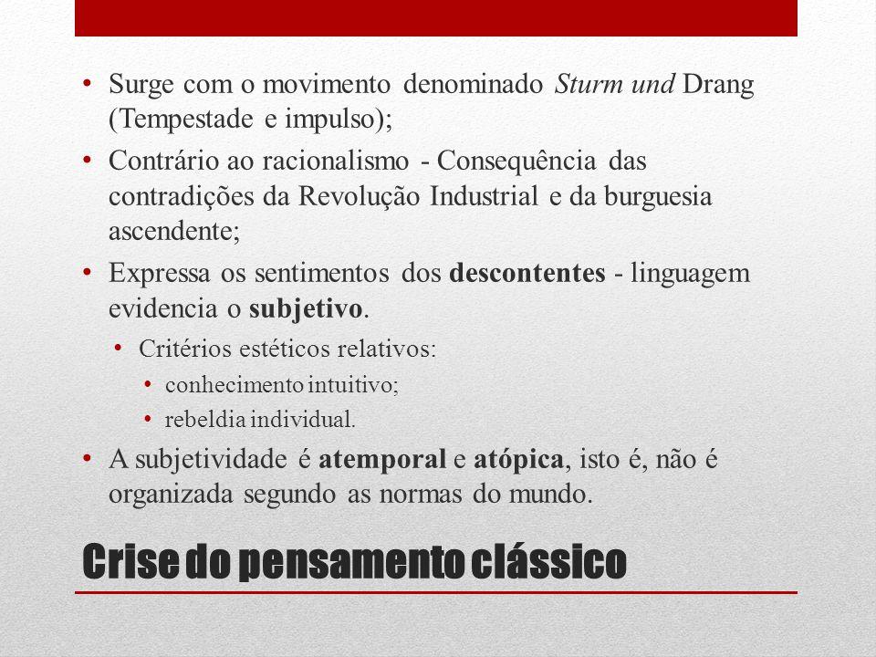 Crise do pensamento clássico Surge com o movimento denominado Sturm und Drang (Tempestade e impulso); Contrário ao racionalismo - Consequência das con