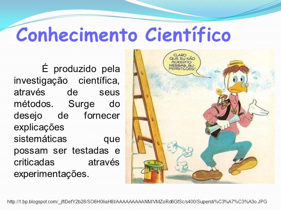 Conhecimento Científico É produzido pela investigação científica, através de seus métodos. Surge do desejo de fornecer explicações sistemáticas que po