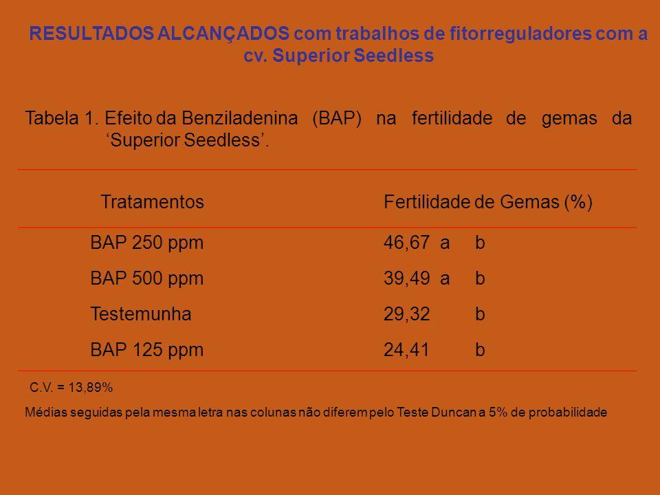 TratamentosFertilidade de Gemas (%) BAP 250 ppm46,67 a b BAP 500 ppm39,49 a b Testemunha29,32 b BAP 125 ppm24,41 b C.V.