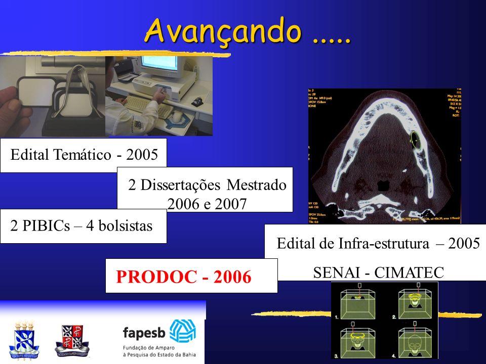 Avançando..... Edital Temático - 2005 Edital de Infra-estrutura – 2005 SENAI - CIMATEC 2 Dissertações Mestrado 2006 e 2007 2 PIBICs – 4 bolsistas PROD