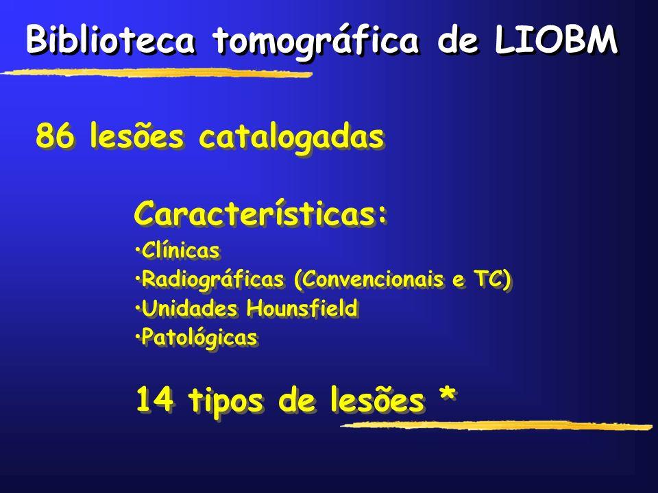 Biblioteca tomográfica de LIOBM 86 lesões catalogadas Características: Clínicas Radiográficas (Convencionais e TC) Unidades Hounsfield Patológicas Car
