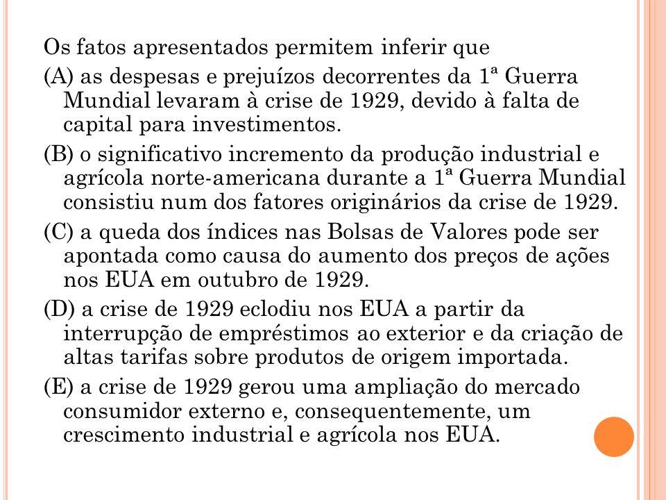 Os fatos apresentados permitem inferir que (A) as despesas e prejuízos decorrentes da 1ª Guerra Mundial levaram à crise de 1929, devido à falta de capital para investimentos.