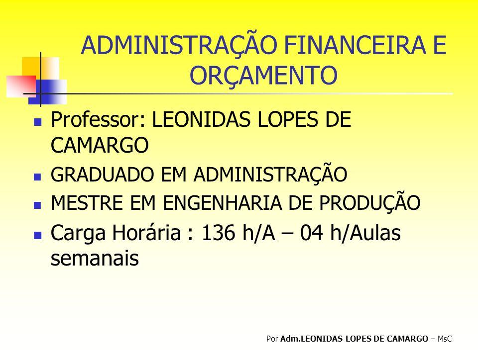 ADMINISTRAÇÃO FINANCEIRA E ORÇAMENTO Professor: LEONIDAS LOPES DE CAMARGO GRADUADO EM ADMINISTRAÇÃO MESTRE EM ENGENHARIA DE PRODUÇÃO Carga Horária : 1