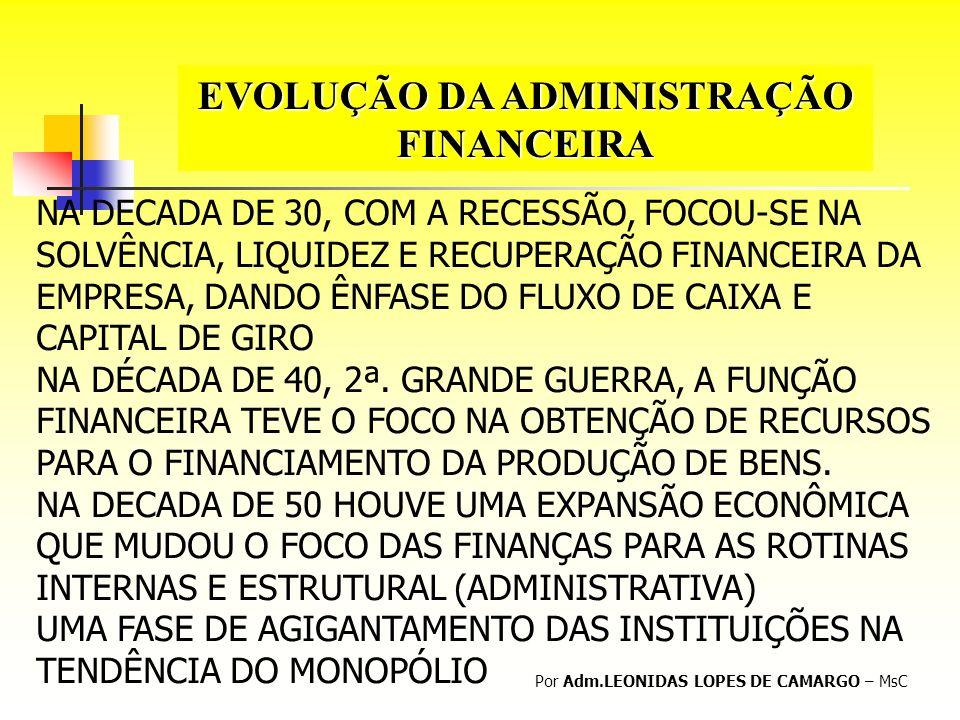EVOLUÇÃO DA ADMINISTRAÇÃO FINANCEIRA Por Adm.LEONIDAS LOPES DE CAMARGO – MsC NA DECADA DE 30, COM A RECESSÃO, FOCOU-SE NA SOLVÊNCIA, LIQUIDEZ E RECUPE