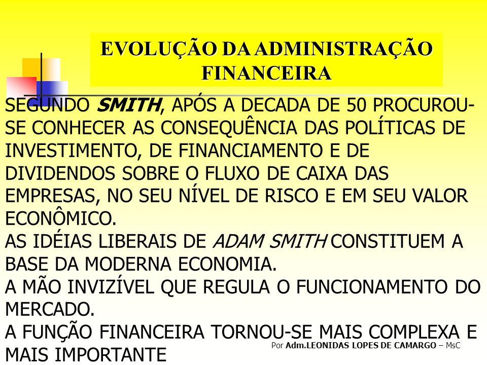 EVOLUÇÃO DA ADMINISTRAÇÃO FINANCEIRA Por Adm.LEONIDAS LOPES DE CAMARGO – MsC SEGUNDO SMITH, APÓS A DECADA DE 50 PROCUROU- SE CONHECER AS CONSEQUÊNCIA