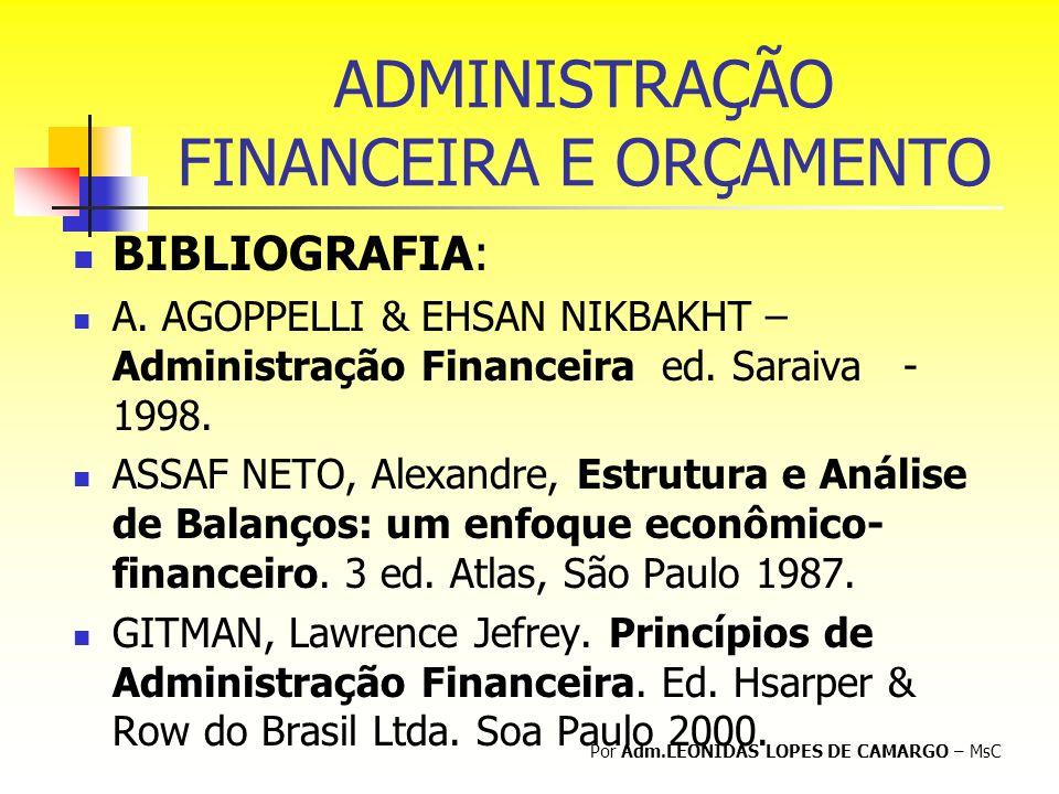 ADMINISTRAÇÃO FINANCEIRA E ORÇAMENTO BIBLIOGRAFIA: A. AGOPPELLI & EHSAN NIKBAKHT – Administração Financeira ed. Saraiva - 1998. ASSAF NETO, Alexandre,