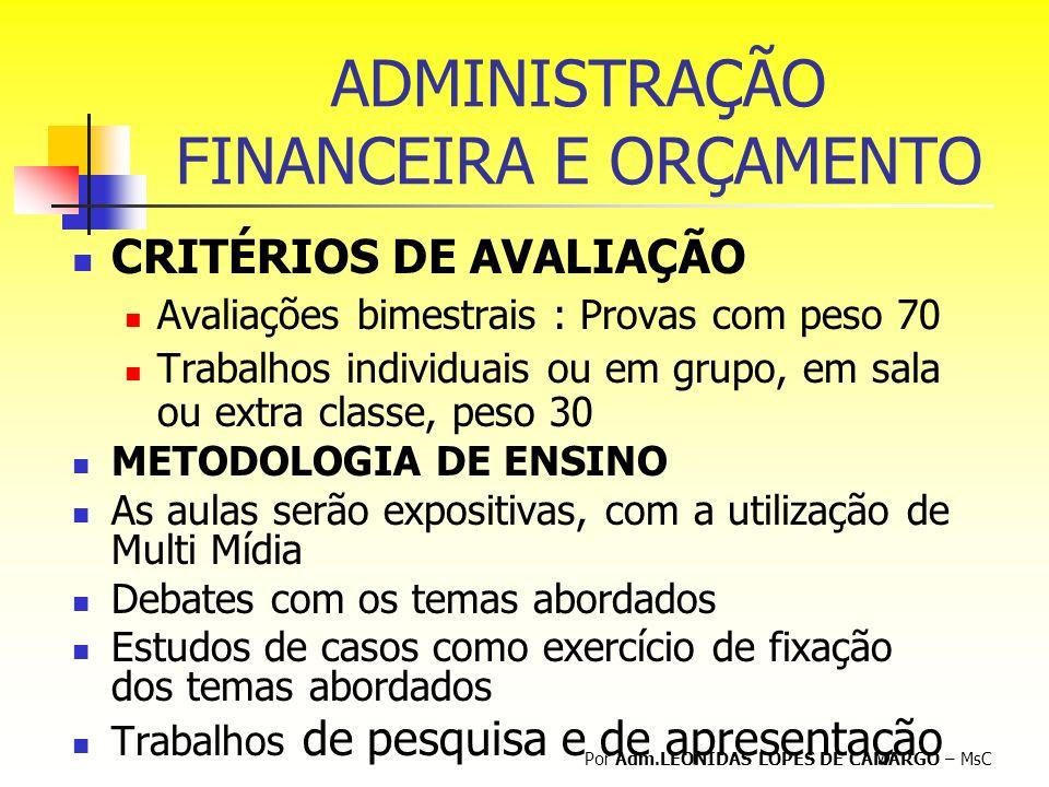 Conteúdos I - ADMINISTRAÇÃO FINANCEIRA -CONCEITOS E IMPORTÂNCIA I - ADMINISTRAÇÃO FINANCEIRA -CONCEITOS E IMPORTÂNCIA II - ANÁLISE DE DECISÕES DE INVESTIMENTO III - ESTRUTURA E CUSTO DE CAPITAL, ALAVANCAGEM E POLÍTICA DE DIVIDENDOS IV - ADMINISTRAÇÃO DO CAPITAL DE GIRO, ANÁLISE E AVALIAÇÕES DE DEMONSTRAÇÕES FINANCEIRAS V - DECISÕES DE INVESTIMENTOS VI – CONTROLE ORÇAMENTÁRIO E ANÁLISE DAS VARIAÇÕES Por Adm.LEONIDAS LOPES DE CAMARGO – MsC