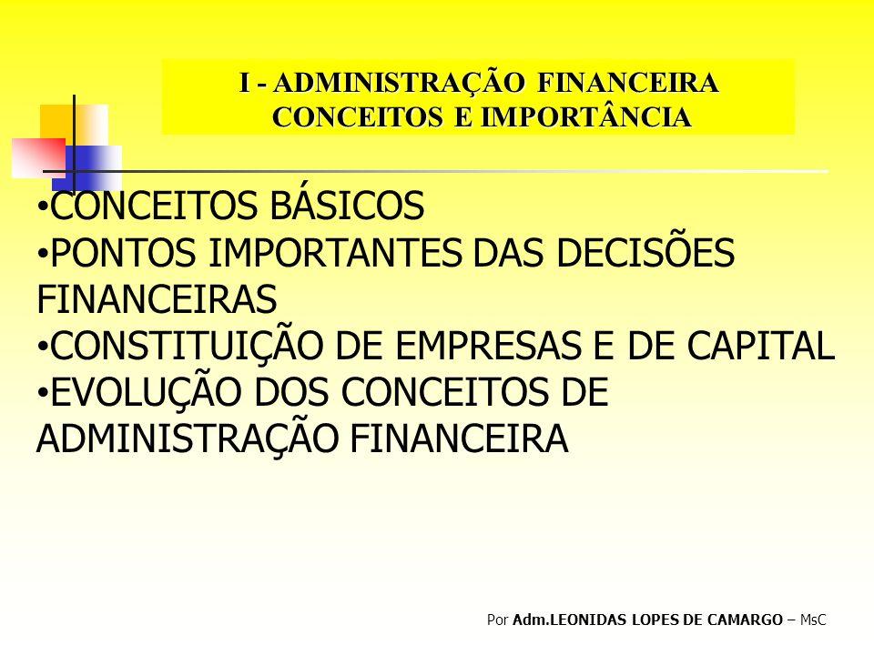 I - ADMINISTRAÇÃO FINANCEIRA CONCEITOS E IMPORTÂNCIA CONCEITOS E IMPORTÂNCIA Por Adm.LEONIDAS LOPES DE CAMARGO – MsC CONCEITOS BÁSICOS PONTOS IMPORTAN