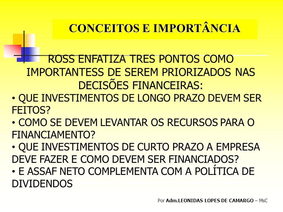 CONCEITOS E IMPORTÂNCIA Por Adm.LEONIDAS LOPES DE CAMARGO – MsC ROSS ENFATIZA TRES PONTOS COMO IMPORTANTESS DE SEREM PRIORIZADOS NAS DECISÕES FINANCEI