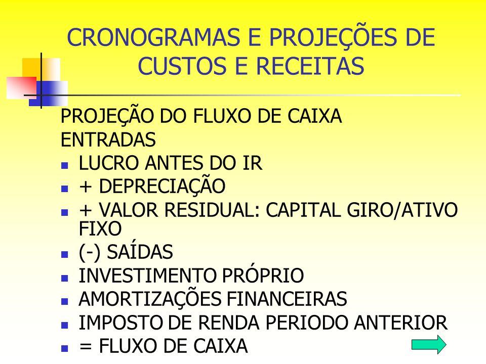 PROJEÇÃO DO FLUXO DE CAIXA ENTRADAS LUCRO ANTES DO IR + DEPRECIAÇÃO + VALOR RESIDUAL: CAPITAL GIRO/ATIVO FIXO (-) SAÍDAS INVESTIMENTO PRÓPRIO AMORTIZA