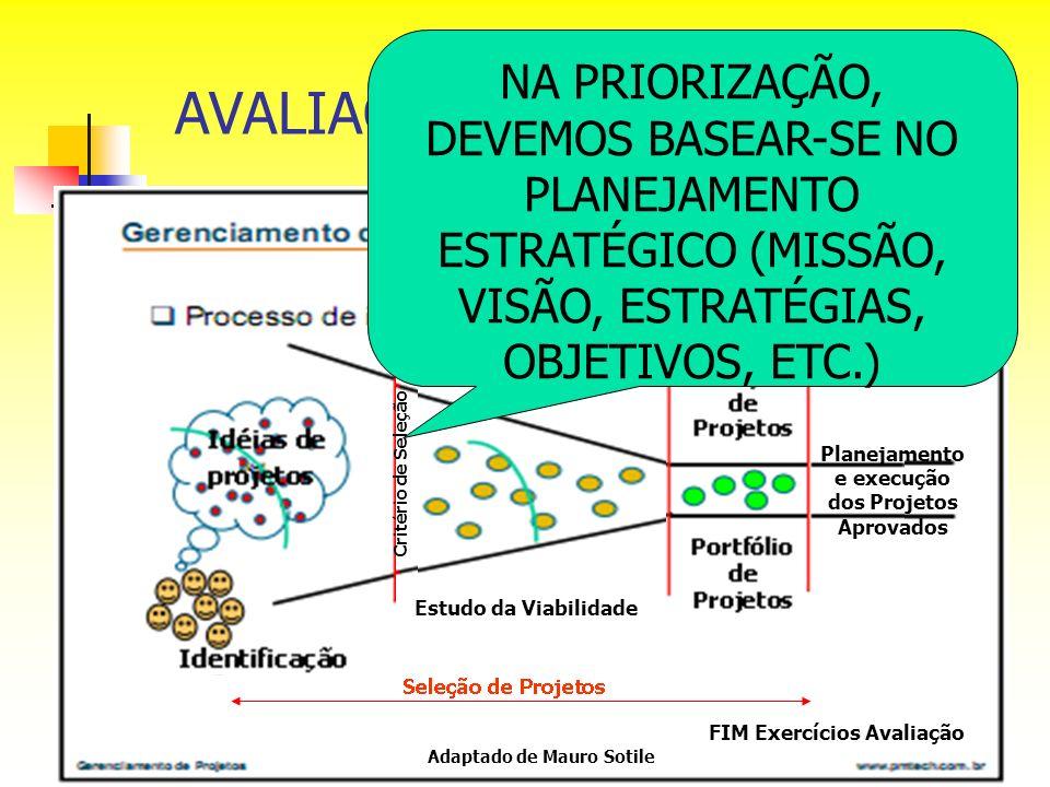 AVALIAÇÃO DE PROJETOS Adaptado de Mauro Sotile Estudo da Viabilidade Critério de Seleção Planejamento e execução dos Projetos Aprovados NA PRIORIZAÇÃO
