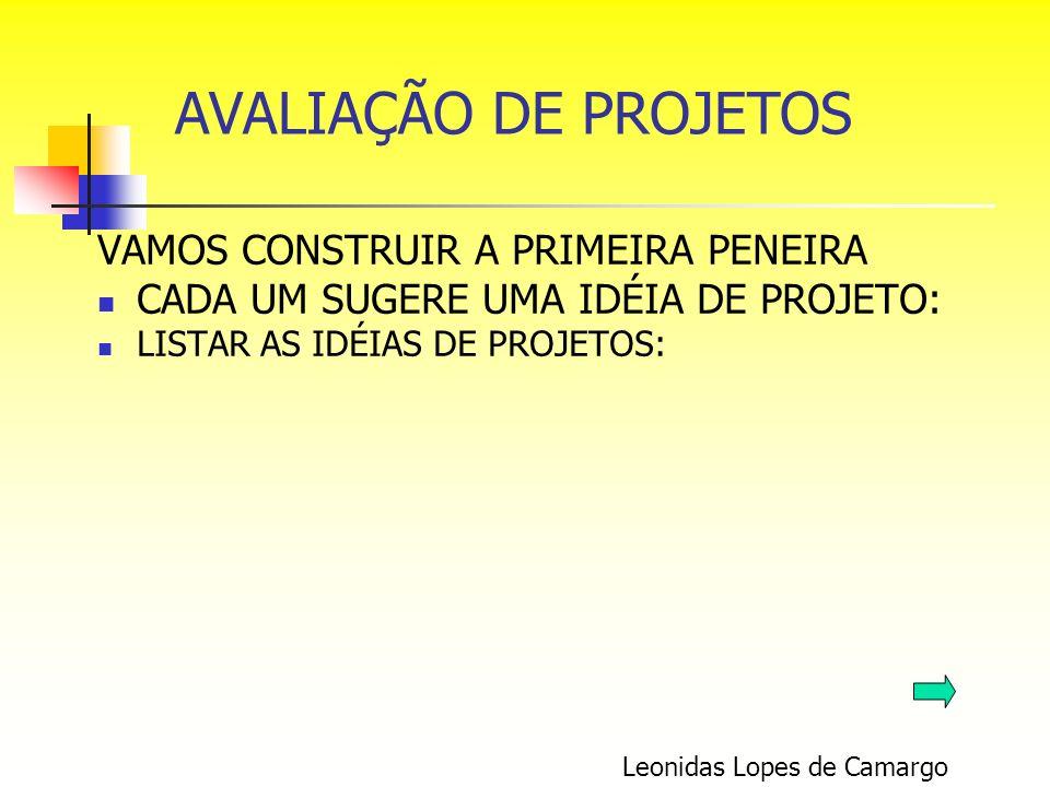 VAMOS CONSTRUIR A PRIMEIRA PENEIRA CADA UM SUGERE UMA IDÉIA DE PROJETO: LISTAR AS IDÉIAS DE PROJETOS: Leonidas Lopes de Camargo AVALIAÇÃO DE PROJETOS