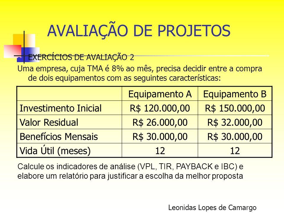 EXERCÍCIOS DE AVALIAÇÃO 2 Uma empresa, cuja TMA é 8% ao mês, precisa decidir entre a compra de dois equipamentos com as seguintes características: Leo