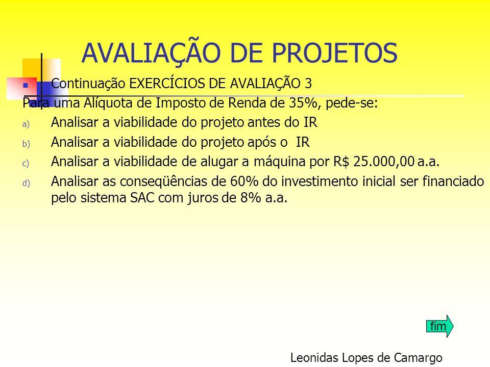 Continuação EXERCÍCIOS DE AVALIAÇÃO 3 Para uma Alíquota de Imposto de Renda de 35%, pede-se: a) Analisar a viabilidade do projeto antes do IR b) Anali