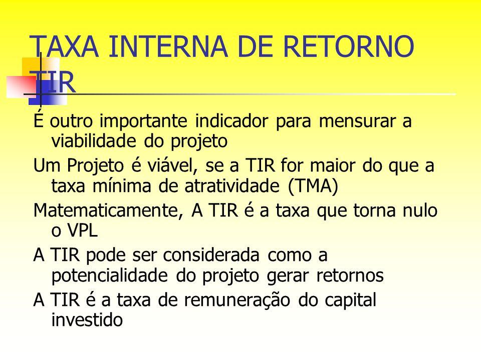 TAXA INTERNA DE RETORNO TIR É outro importante indicador para mensurar a viabilidade do projeto Um Projeto é viável, se a TIR for maior do que a taxa