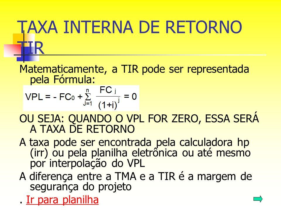 TAXA INTERNA DE RETORNO TIR Matematicamente, a TIR pode ser representada pela Fórmula: OU SEJA: QUANDO O VPL FOR ZERO, ESSA SERÁ A TAXA DE RETORNO A t