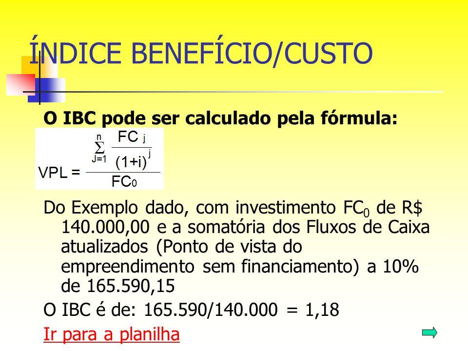 ÍNDICE BENEFÍCIO/CUSTO O IBC pode ser calculado pela fórmula: Do Exemplo dado, com investimento FC 0 de R$ 140.000,00 e a somatória dos Fluxos de Caix