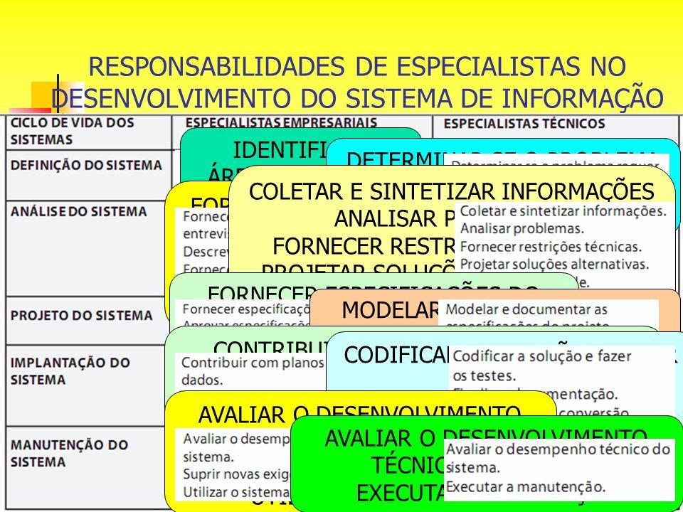 RESPONSABILIDADES DE ESPECIALISTAS NO DESENVOLVIMENTO DO SISTEMA DE INFORMAÇÃO IDENTIFICAR ÁREAS/QUESTÕES PROBLEMÁTICAS DETERMINAR SE O PROBLEMA REQUE