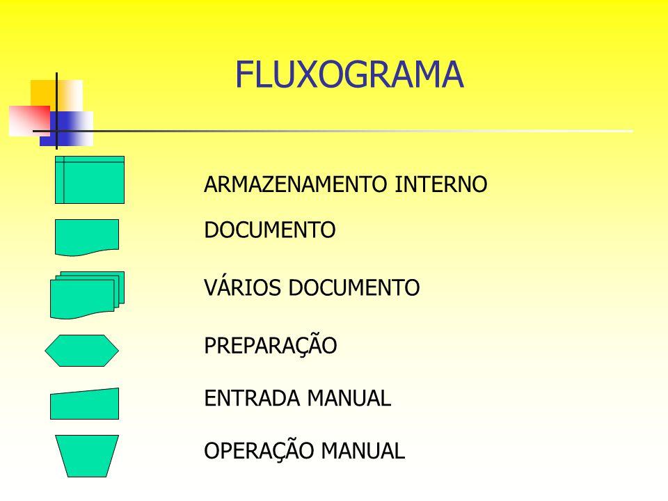 FLUXOGRAMA ARMAZENAMENTO INTERNO DOCUMENTO VÁRIOS DOCUMENTO PREPARAÇÃO ENTRADA MANUAL OPERAÇÃO MANUAL