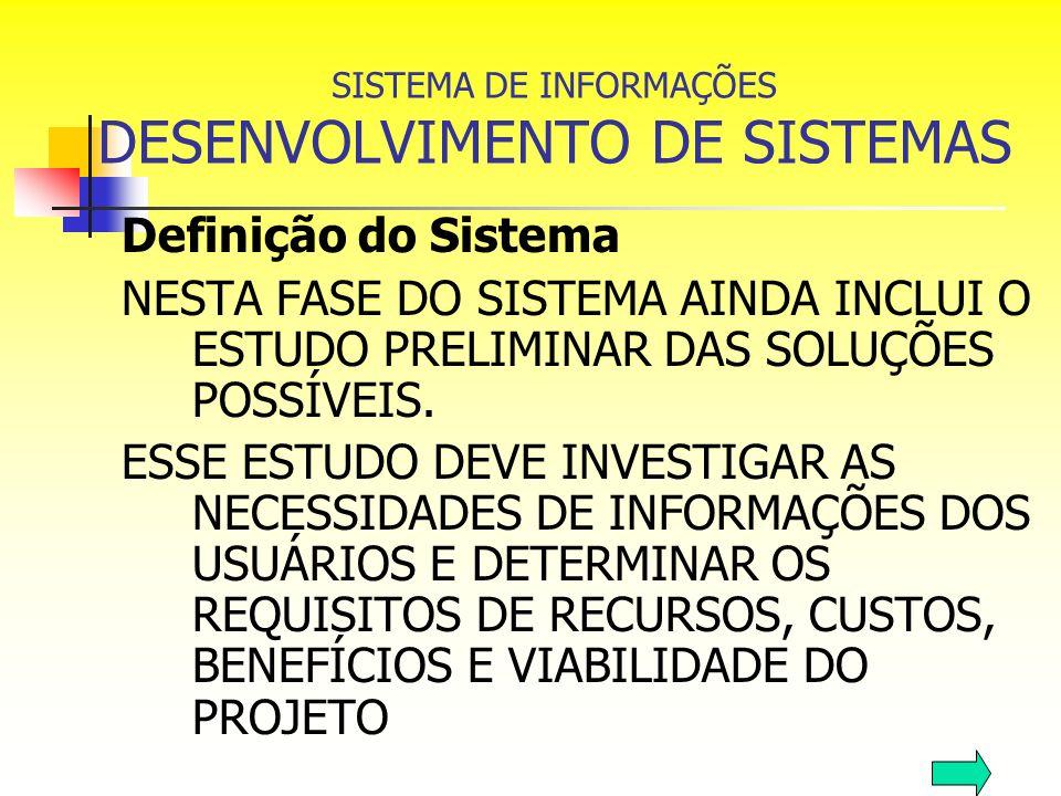 SISTEMA DE INFORMAÇÕES DESENVOLVIMENTO DE SISTEMAS Definição do Sistema NESTA FASE DO SISTEMA AINDA INCLUI O ESTUDO PRELIMINAR DAS SOLUÇÕES POSSÍVEIS.