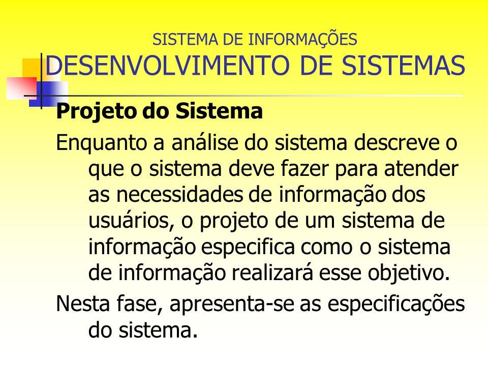 SISTEMA DE INFORMAÇÕES DESENVOLVIMENTO DE SISTEMAS Projeto do Sistema Enquanto a análise do sistema descreve o que o sistema deve fazer para atender a