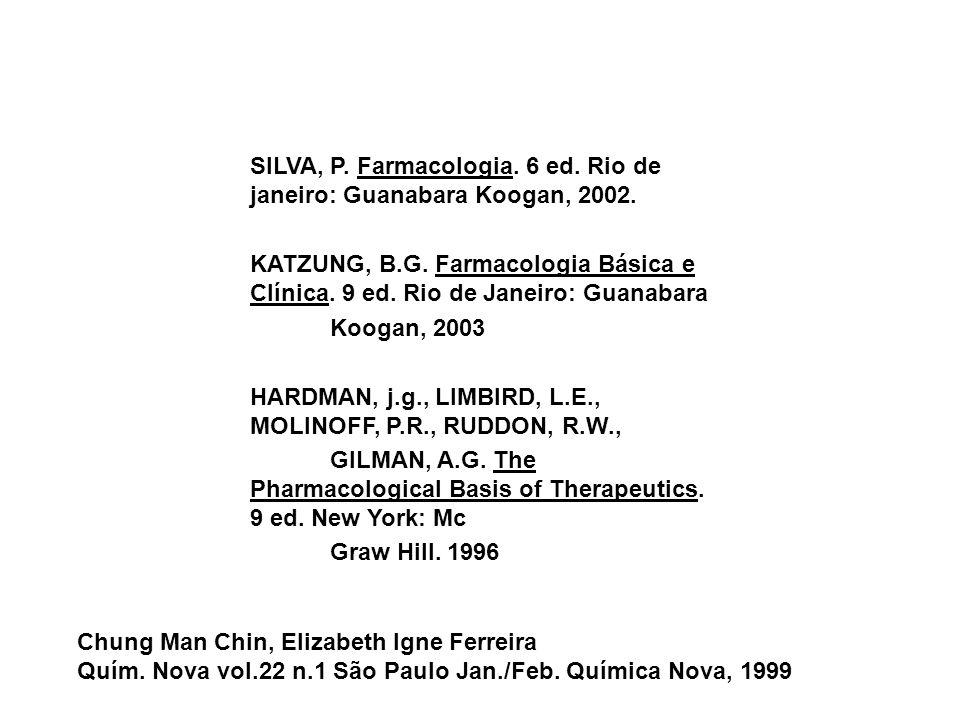 SILVA, P. Farmacologia. 6 ed. Rio de janeiro: Guanabara Koogan, 2002. KATZUNG, B.G. Farmacologia Básica e Clínica. 9 ed. Rio de Janeiro: Guanabara Koo