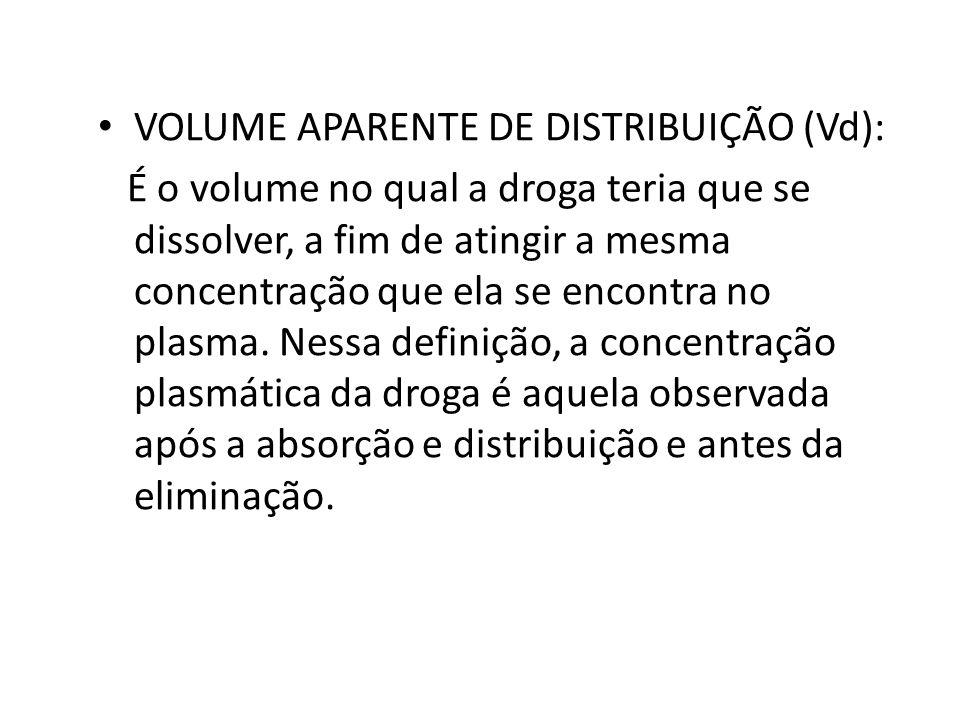 VOLUME APARENTE DE DISTRIBUIÇÃO (Vd): É o volume no qual a droga teria que se dissolver, a fim de atingir a mesma concentração que ela se encontra no