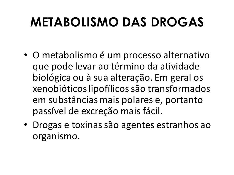 METABOLISMO DAS DROGAS O metabolismo é um processo alternativo que pode levar ao término da atividade biológica ou à sua alteração. Em geral os xenobi