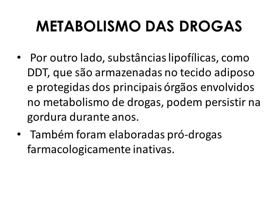 METABOLISMO DAS DROGAS Por outro lado, substâncias lipofílicas, como DDT, que são armazenadas no tecido adiposo e protegidas dos principais órgãos env