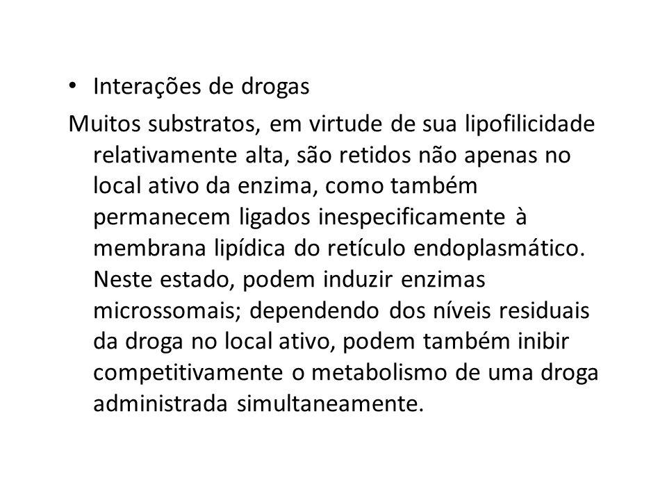 Interações de drogas Muitos substratos, em virtude de sua lipofilicidade relativamente alta, são retidos não apenas no local ativo da enzima, como tam