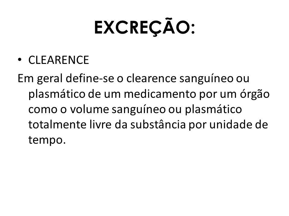 EXCREÇÃO: CLEARENCE Em geral define-se o clearence sanguíneo ou plasmático de um medicamento por um órgão como o volume sanguíneo ou plasmático totalm