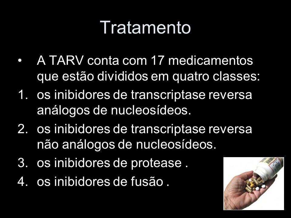 Tratamento A TARV conta com 17 medicamentos que estão divididos em quatro classes: 1.os inibidores de transcriptase reversa análogos de nucleosídeos.
