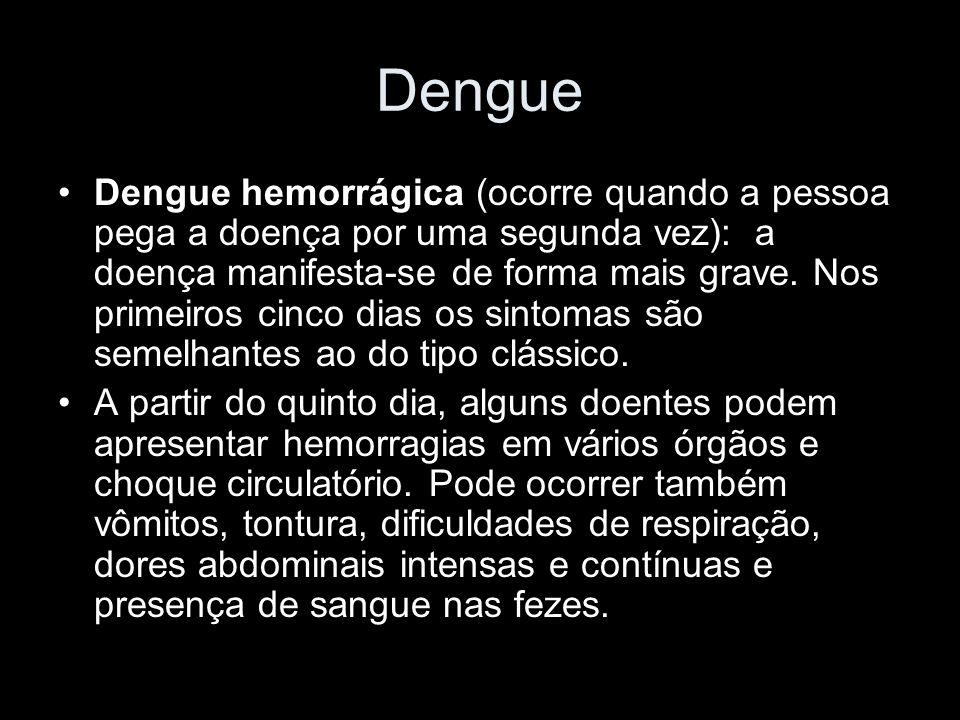 Dengue Dengue hemorrágica (ocorre quando a pessoa pega a doença por uma segunda vez): a doença manifesta-se de forma mais grave.