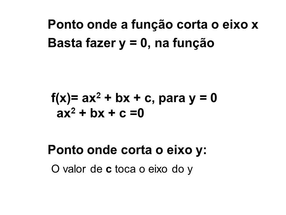 ESTUDO DO SINAL f(x) = ax 2 + bx + c a >0 a é positivo então a função côncava para cima Valor que anula a função é x e x.