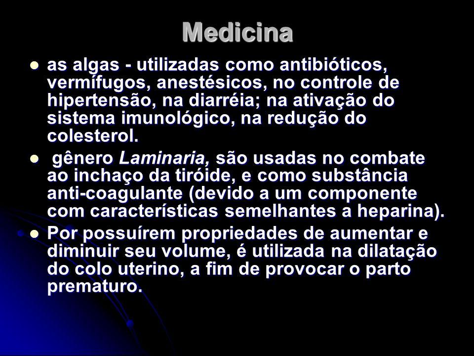 Medicina as algas - utilizadas como antibióticos, vermífugos, anestésicos, no controle de hipertensão, na diarréia; na ativação do sistema imunológico