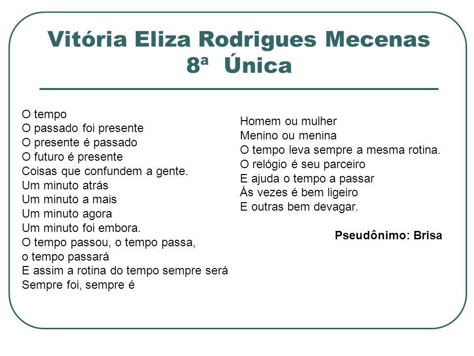 Vitória Eliza Rodrigues Mecenas 8ª Única O tempo O passado foi presente O presente é passado O futuro é presente Coisas que confundem a gente. Um minu