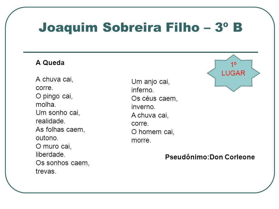 Joaquim Sobreira Filho – 3º B A Queda A chuva cai, corre. O pingo cai, molha. Um sonho cai, realidade. As folhas caem, outono. O muro cai, liberdade.