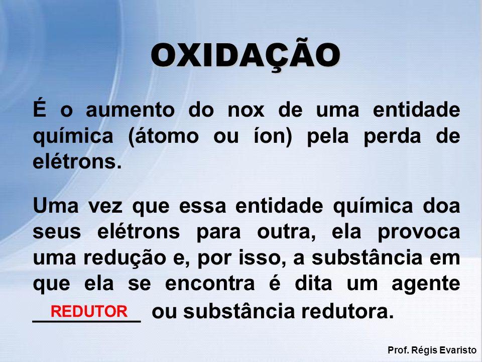 Prof.Régis Evaristo REDUÇÃO É a redução do nox de uma entidade química pelo ganho de elétrons.
