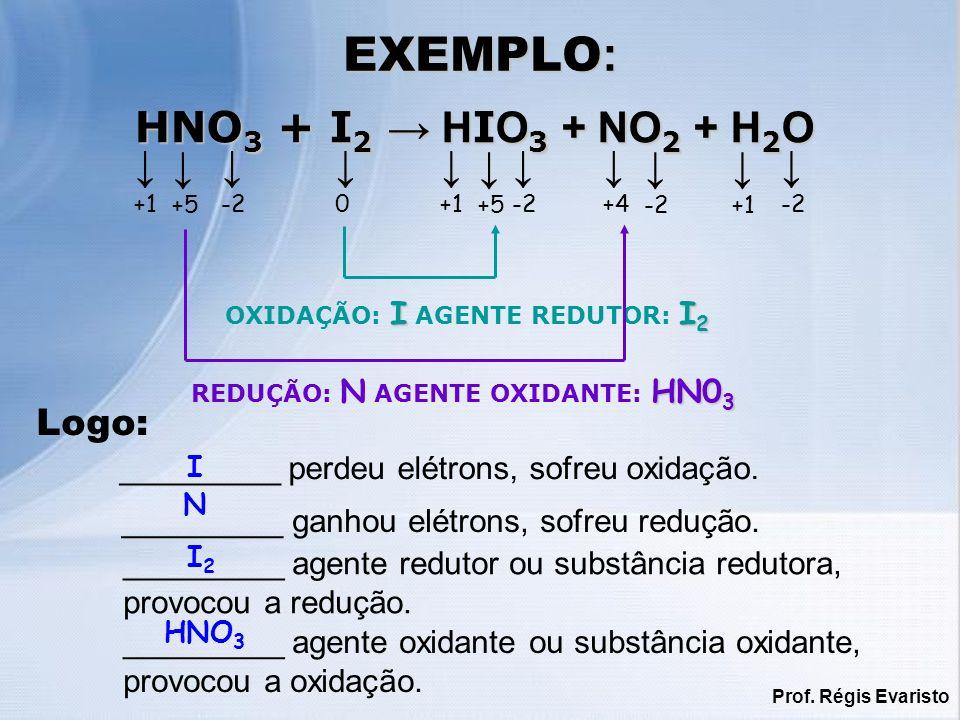 Prof. Régis Evaristo _________ perdeu elétrons, sofreu oxidação. _________ ganhou elétrons, sofreu redução. _________ agente redutor ou substância red