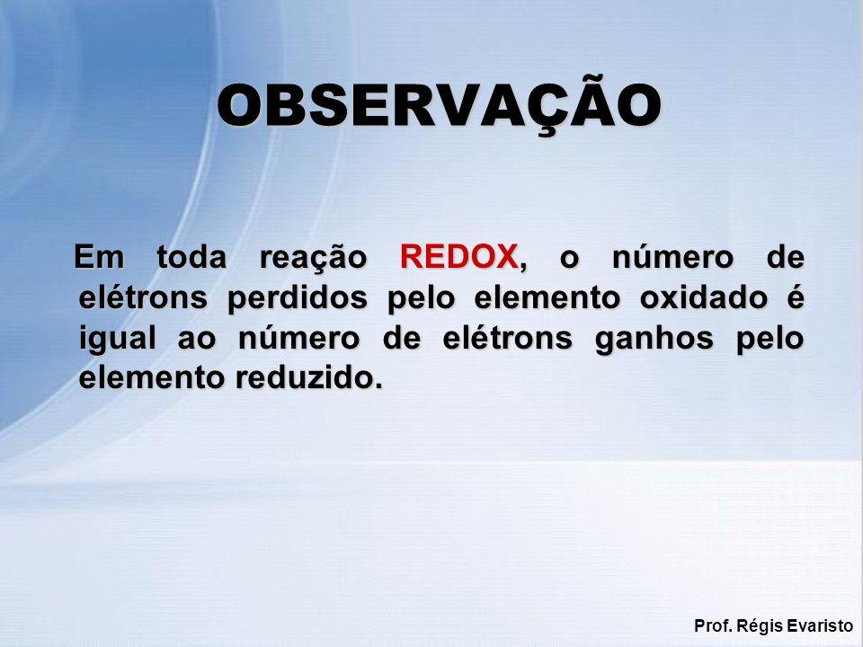 Prof. Régis Evaristo OBSERVAÇÃO Em toda reação REDOX, o número de elétrons perdidos pelo elemento oxidado é igual ao número de elétrons ganhos pelo el