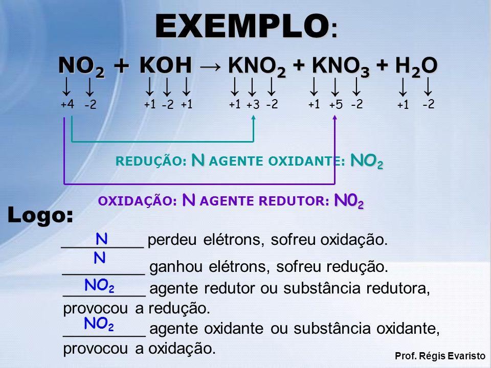 Prof. Régis Evaristo EXEMPLO : +4 -2 +1 +5 +1 -2 +1 +3 -2 NNO 2 REDUÇÃO: N AGENTE OXIDANTE: NO 2 N0 2 OXIDAÇÃO: N AGENTE REDUTOR: N0 2 NO 2 + KOH KNO