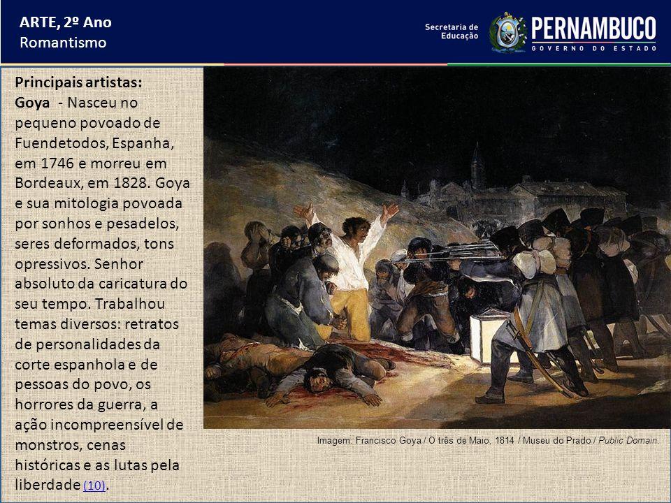 ARTE, 2º Ano Romantismo Principais artistas: Goya - Nasceu no pequeno povoado de Fuendetodos, Espanha, em 1746 e morreu em Bordeaux, em 1828. Goya e s