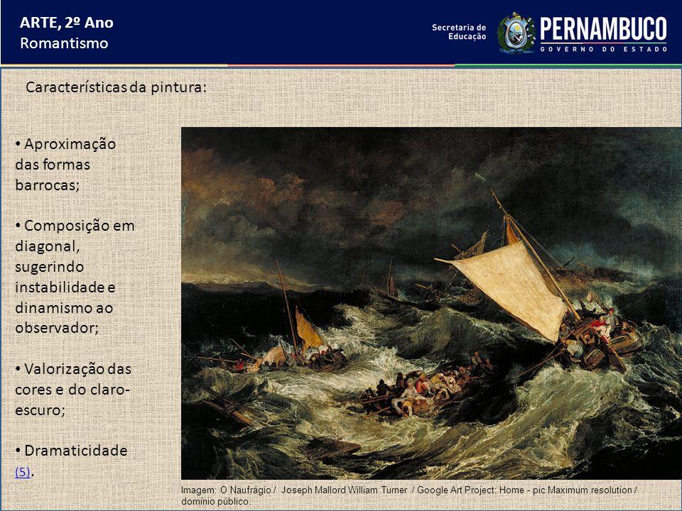 ARTE, 2º Ano Romantismo Temas da pintura: Fatos da história nacional e contemporânea da vida dos artistas; Natureza revelando um dinamismo equivalente às emoções humanas; Mitologia Grega (6).