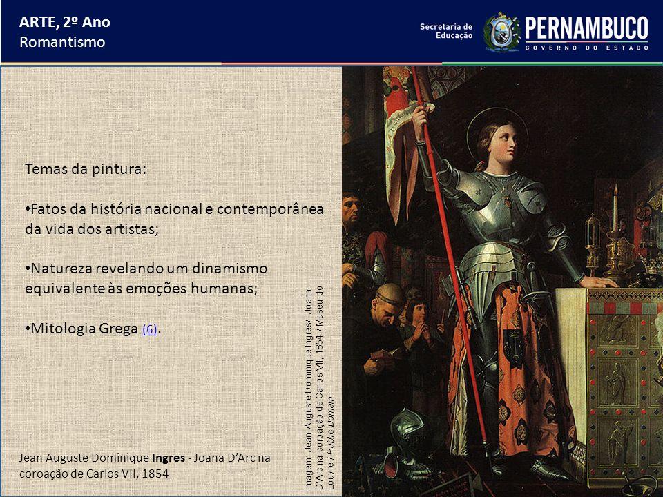 ARTE, 2º Ano Romantismo Temas da pintura: Fatos da história nacional e contemporânea da vida dos artistas; Natureza revelando um dinamismo equivalente