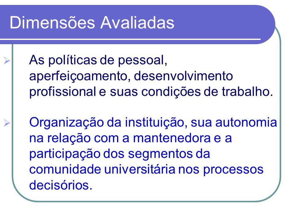 As políticas de pessoal, aperfeiçoamento, desenvolvimento profissional e suas condições de trabalho. Organização da instituição, sua autonomia na rela