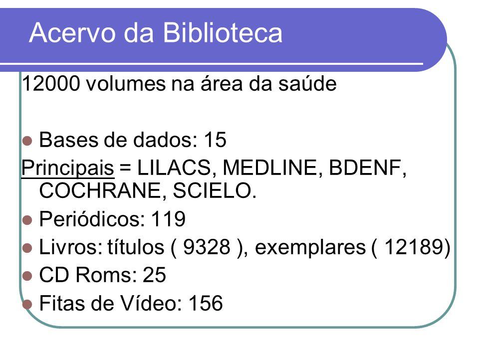 Acervo da Biblioteca 12000 volumes na área da saúde Bases de dados: 15 Principais = LILACS, MEDLINE, BDENF, COCHRANE, SCIELO. Periódicos: 119 Livros: